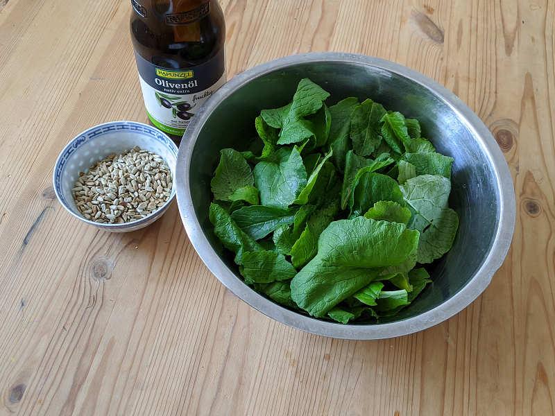 Zutaten für Pesto aus Radieschenblättern